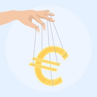 Mão de empresário controlando um sinal de dinheiro como fantoche