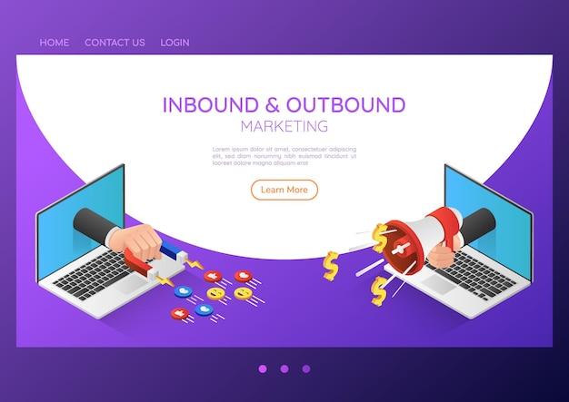 Mão de empresário de banner 3d isométrico da web sair do monitor do laptop com ímã e megafone. conceito de página de destino de marketing de entrada e saída.