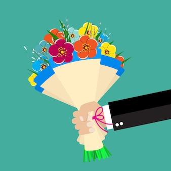 Mão de empresário de desenho animado segurando buquê de flores