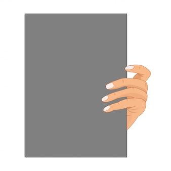 Mão de empresário dos desenhos animados segurando o papel em branco vazio.