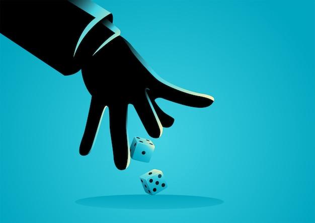 Mão de empresário jogando dadinhos