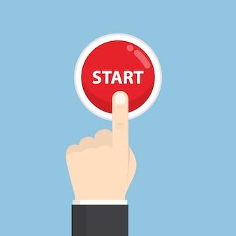 Mão de empresário, pressionando o botão iniciar