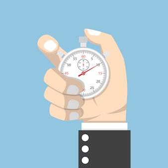 Mão de empresário segurando cronômetro