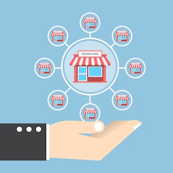 Mão de empresário segurando o sistema de marketing de franquia