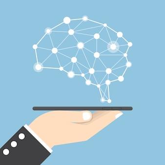 Mão de empresário segurando um tablet com cérebro virtual, inteligência artificial (ia) e conceito de ideia