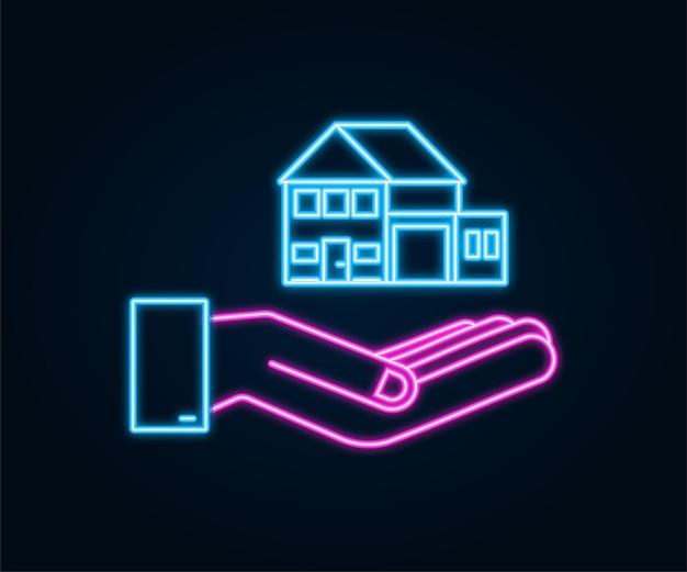 Mão de empresário segurando uma casa ícone de néon conceito imobiliário de aluguel de casa