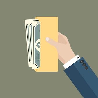 Mão de empresário segurar envelope com dinheiro