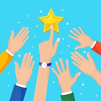 Mão de empresário subindo para estrela. sucesso nos negócios, conceito de celebridade. desenho de desenho animado