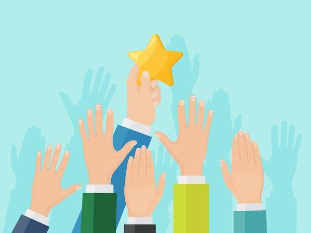 Mão de empresário subindo para estrela. sucesso nos negócios, conceito de celebridade