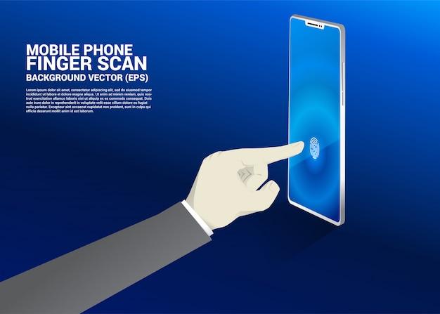 Mão de empresário tocar o dedo no ícone de digitalização de dedo