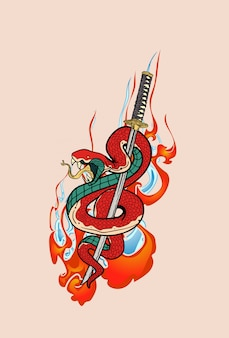 Mão de espada katana cobra e samurai desenhada no estilo japonês. design para impressão em camisetas, adesivos e muito mais.