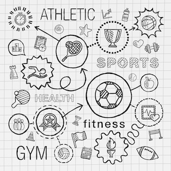 Mão de esporte desenhar conjunto de ícones integrado. desenho infográfico ilustração com linha conectada doodle pictograma de hachura no jornal da escola. competição, bola, toque, futebol, tênis, sinal de copa, conceito de jogo