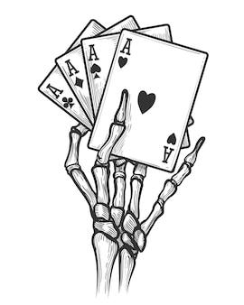 Mão de esqueleto com quatro ases
