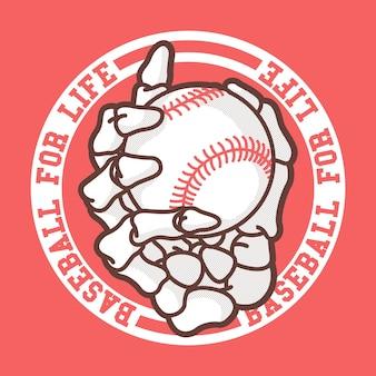 Mão de esqueleto segurando uma bola de beisebol. esporte, equipe, jogo, conceito de design de competição
