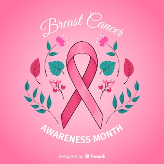 Mão de evento de conscientização de câncer de mama desenhada