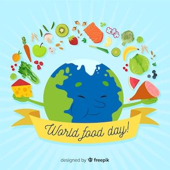 Mão de evento do dia mundial da comida desenhada