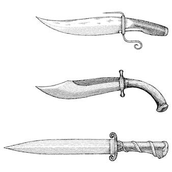 Mão de faca vintage desenho ilustração de gravura