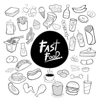 Mão de fast-food desenhada doodles vector de fundo