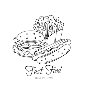 Mão de fast-food desenhada.