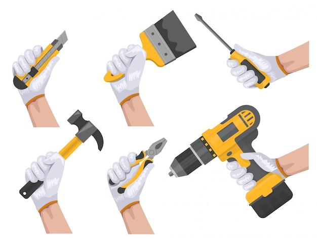 Mão de ferramenta de construção
