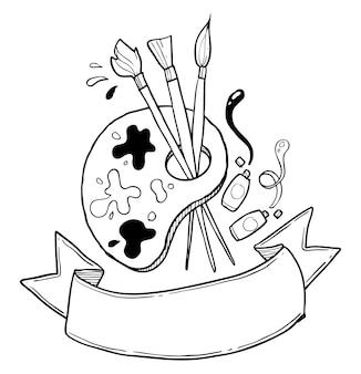 Mão de ferramenta de pintura desenhada