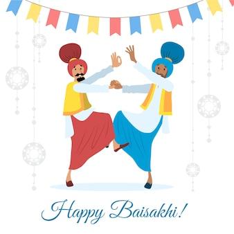 Mão de festival indiano de baisakhi desenhada