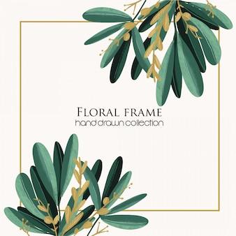 Mão de floral frame tropical desenhada
