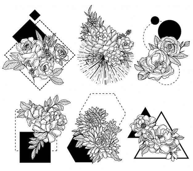 Mão de flores desenhando e esboçando preto e branco