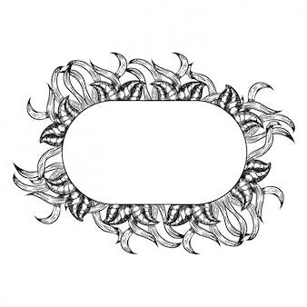 Mão de folha lindo buquê preto e branco desenhada