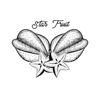 Mão de frutas estrelas desenhada