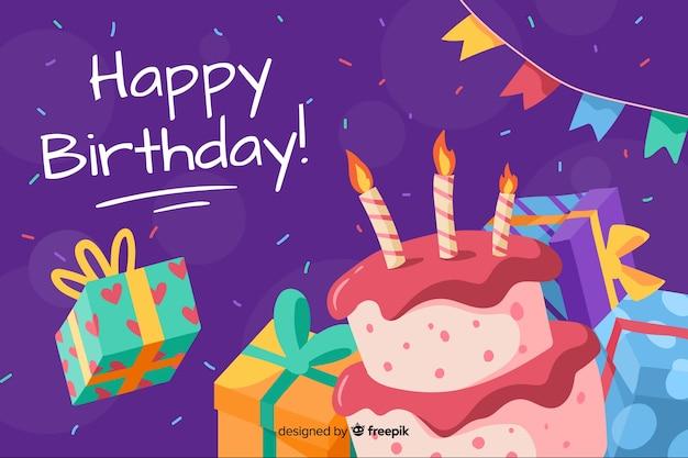 Mão de fundo feliz aniversário desenhada