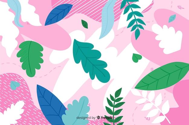 Mão de fundo floral abstrato colorido desenhada