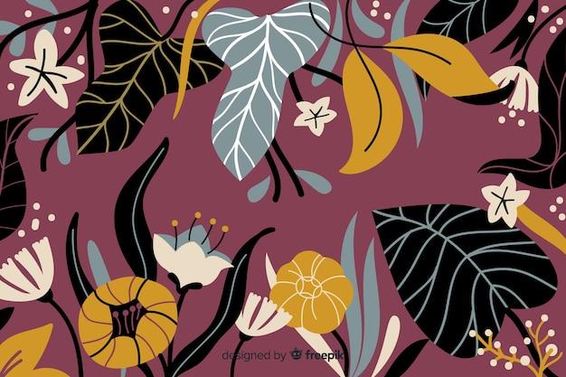 Mão de fundo floral abstrato desenhada