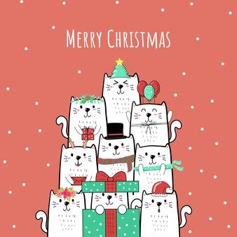 Mão de gato bonito dos desenhos animados desenhada para o natal