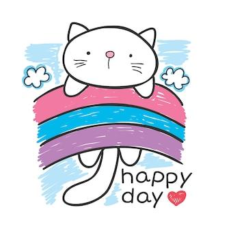 Mão de gato pequeno bonito desenhado para impressão de camisa de t