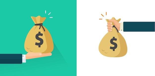 Mão de homem dando e segurando dinheiro ou braço de empresário recebendo um presente ou salário em uma sacola de dinheiro