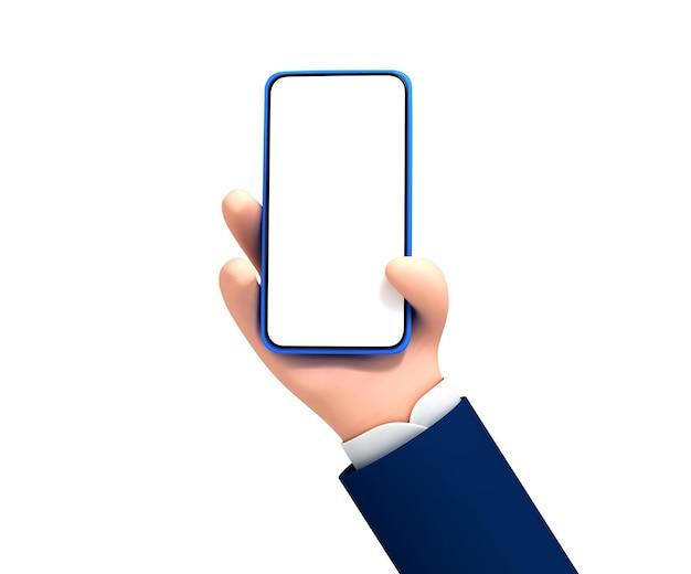 Mão de homem de desenho vetorial segurando o telefone em fundo branco. mão segurando o smartphone com tela vazia. maquete do dispositivo de desenho animado.