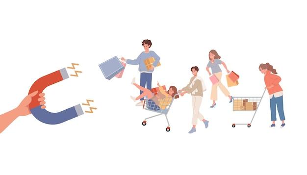 Mão de homem de negócios com ímã atraindo clientes. grupo de pessoas fazendo compras com bolsas e vetor de cestas de compras
