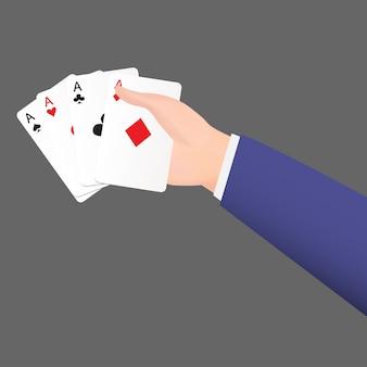 Mão de homem de negócios holdding um cartão de terno