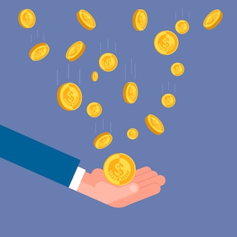 Mão de homem de negócios jogando moedas de ouro até conceito de sucesso financeiro do empresário rico