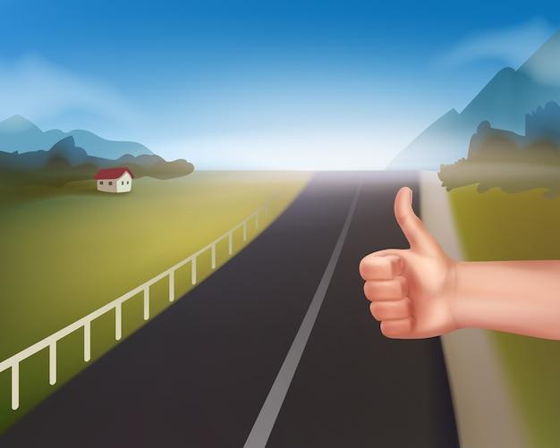 Mão de homem pedindo carona em estrada rural de montanha