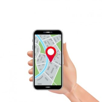 Mão de homem realista segurando o smartphone com marcador de pino de localização e navegação no mapa da cidade