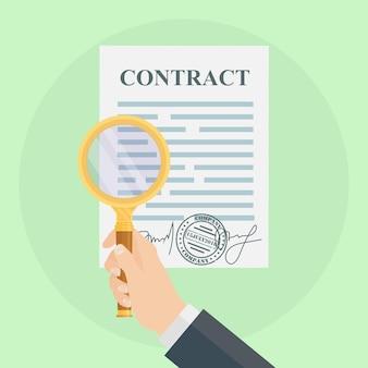 Mão de homem segurando documentos de contato e lupa