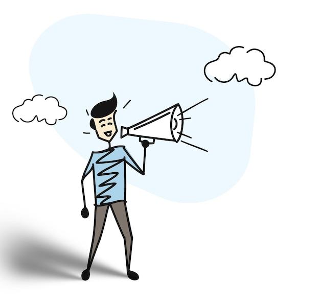 Mão de homem segurando o conceito de megafone de anúncio de negócios. ilustração em vetor esboço desenhado à mão dos desenhos animados.
