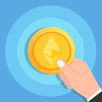 Mão de homem segurando o ícone de moeda de ouro ethereum cryptocurrency. conceito de tecnologia blockchain. ilustração vetorial