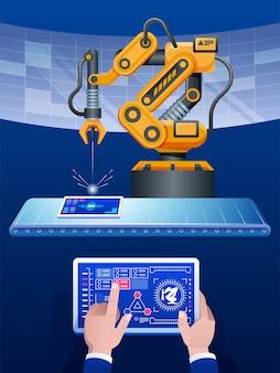 Mão de homem segurando tablet e tom amarelo de braço robótico sem fio automatizado no plano de fundo da fábrica inteligente