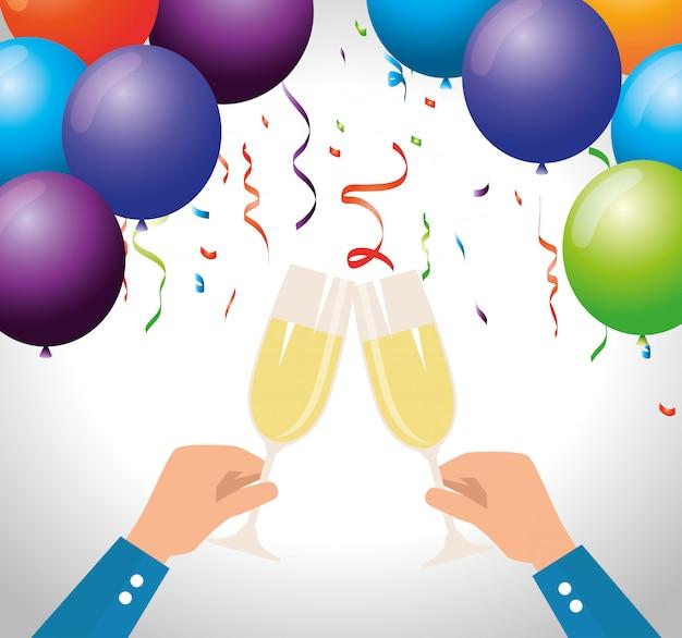 Mão de homens com champanhe e balões com confete