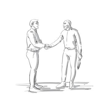 Mão de homens de negócios apertar dois empresários de sketch agitando as mãos sobre fundo branco acordo acordo conceito