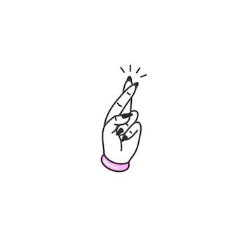 Mão de ilustração com os dedos cruzados. símbolo de boa sorte.