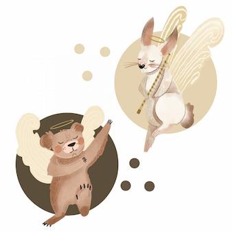 Mão de ilustração de animais alados desenhada